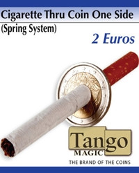 Cigarette through coin 2 euros one side by Tango