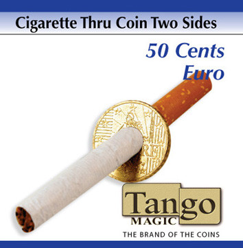 Cigarette through coin 50 cents euro two sides by Tango