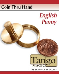 Coin thru hand English penny through hand by Tango Magic