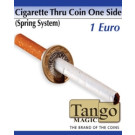 Cigarette through coin 1 euro one side by Tango