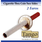 Cigarette through coin 2 euros two sides by Tango