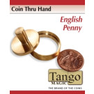 Coin thru hand English penny through hand by Tango Magic